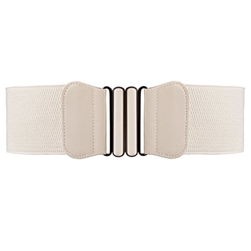 BLT007-Womens Butterfly 3 Inch Waist Elasticated Buckle Belts in Off White