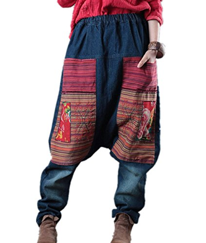 Embroidered Pocket (YESNO PM8 Women Retro Harem Pants Casual Loose Boyfriend Jeans 2 Big Ethnic Patchwork Pockets Embroidered Drop Crotch)