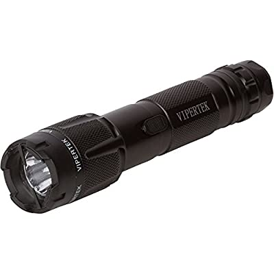 VIPERTEK VTS-T03 - 230,000,000 Heavy Duty Stun Gun - Rechargeable with LED Tactical Flashlight, Black