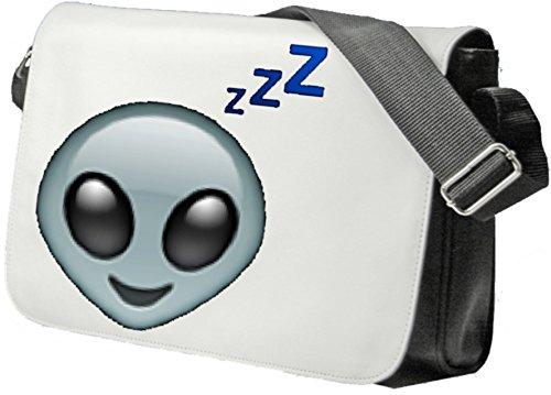 Schultertasche Alienkopf mit ZZZZZ und Müdem Blick Schultasche, Sidebag, Handtasche, Sporttasche, Fitness, Rucksack, Emoji, Smiley
