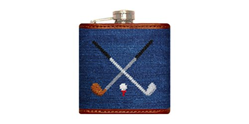 Smathers & Branson Crossed Clubs Needlepoint Flask - Navy (Flask-91) (Needlepoint Flask)