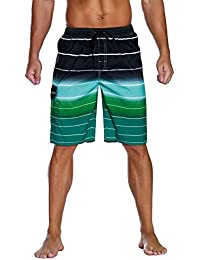 Men's Colortful Striped Swim Trunks Beach Board Shorts with Lining