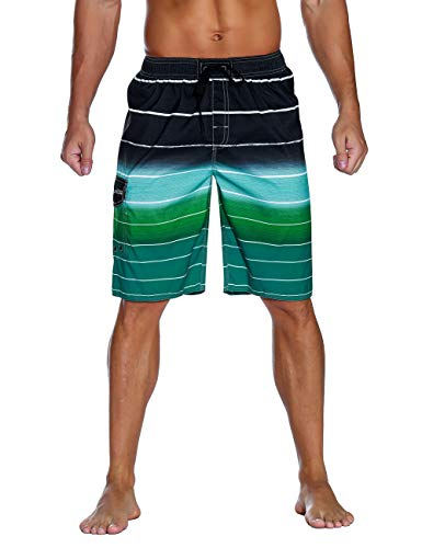 Unitop Men's Colortful Striped Swim Trunks Flag Beach Board Shorts with Lining Green-38]()