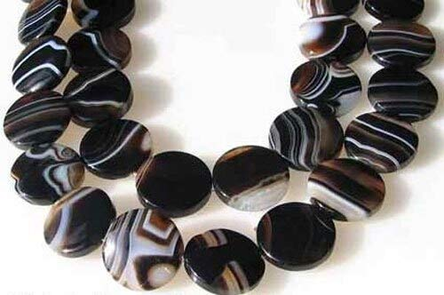 - 4 Sardonyx Agate 20mm Coin Beads for Jewelry Making 009349