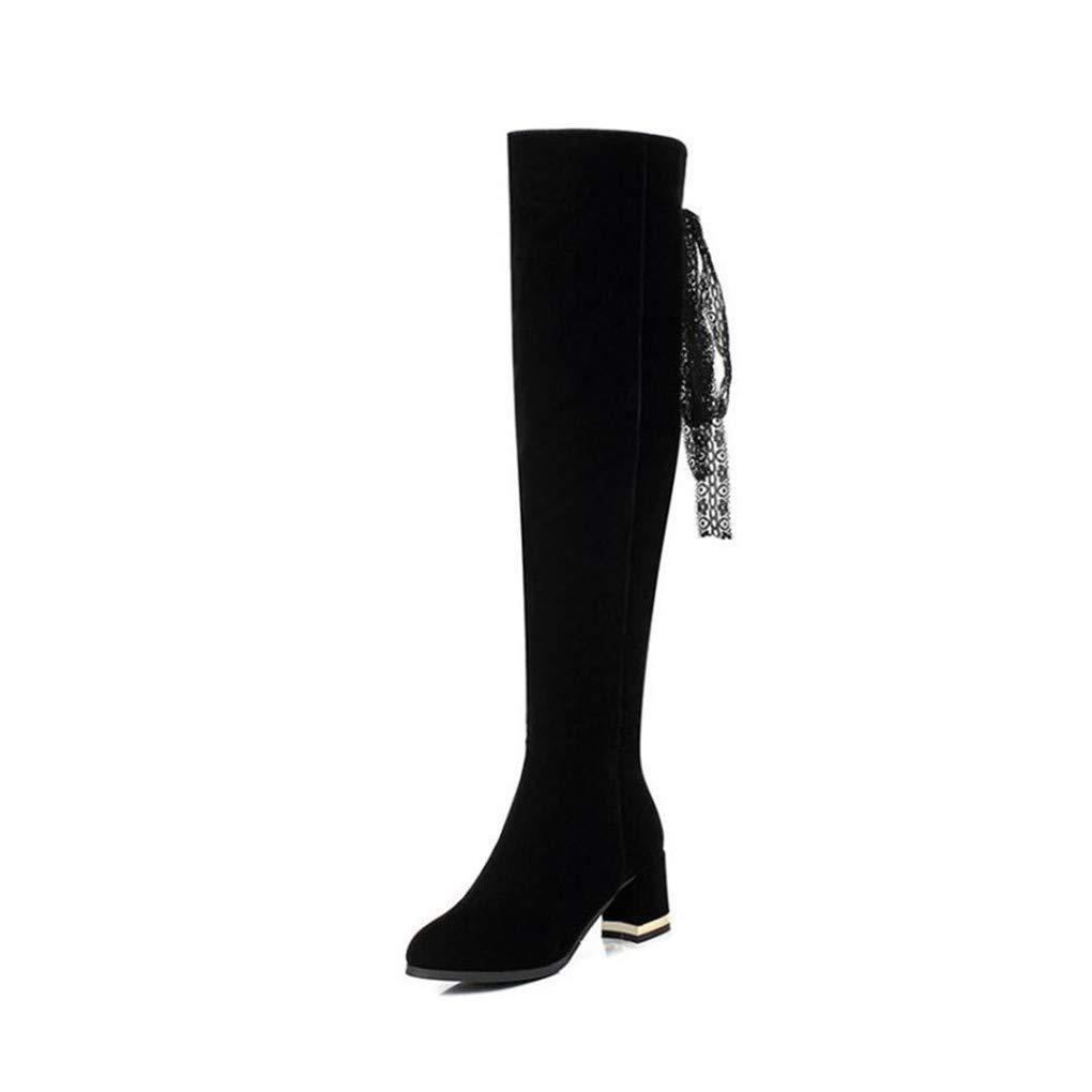 HAOLIEQUAN Größe 33-45 Frauen Thick High Heel Overknee Lange Stiefel Zip Metall Dekoration Schuhe Frauen Warm Innen Winter
