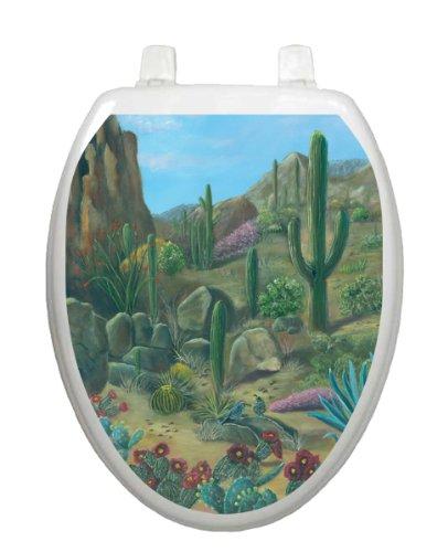 Desert Oasis Toilet Tattoo TT-1052-O Elongated Hot Arizona Theme Cover Bathroom
