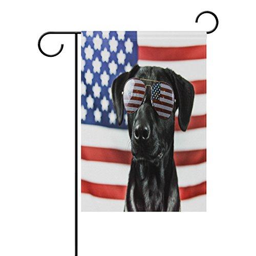 EVERUI Patriotic Black Lab Garden Flag Decorative Flag for Yard Home and Wedding Garden Decor 28 x 40 Inch 100% Polyester Printed on Both (Black Lab Flag)