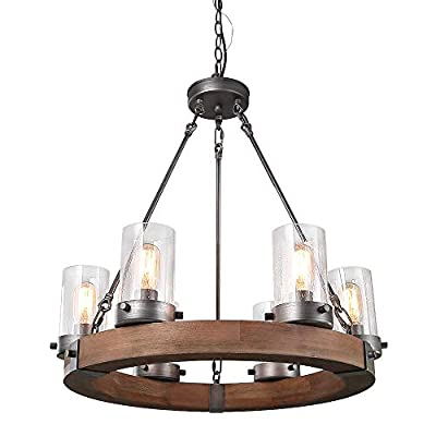 LNC Wood Farmhouse Chandeliers for Dining Rooms Rustic Hanging Ceiling Light Fixture, A03348