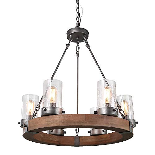 (LNC Wood Farmhouse Chandeliers for Dining Rooms Rustic Hanging Ceiling Light Fixture, A03348)
