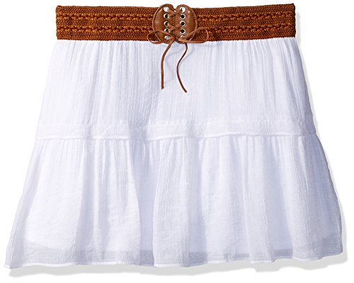 Amy Byer Girls' Big Short Tiered Skirt with Novelty Waistband, White L ()