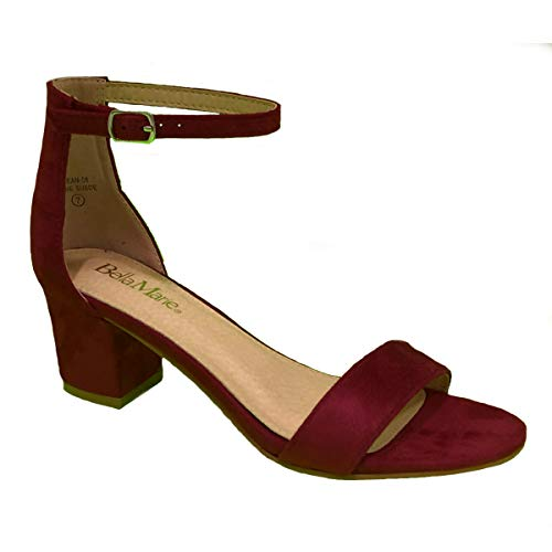 - Bella Marie Womens Strappy Open Toe Block Heel Sandal (6, Wine Suede)