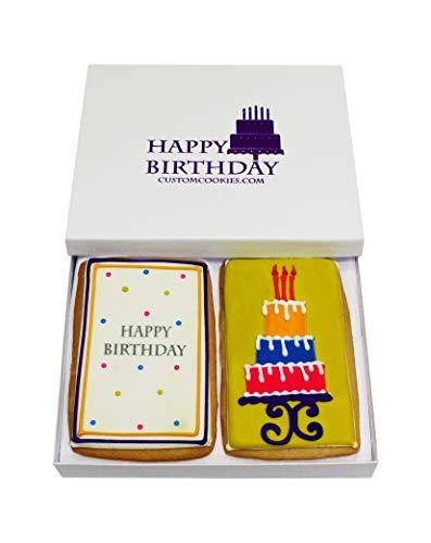 Gourmet Happy Birthday Cookie Gift Basket | 2 Large 2.5 x 4.5 in Vanilla Sugar Cookies Hand-Decorated Snack Variety Pack…