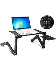 COSTWAY Laptoptisch mit Mausablage, Notebooktisch fürs Bett, Betttisch für Laptop, Betttablett aus Alu, Laptoptablett schwarz, Laptopständer klappbar
