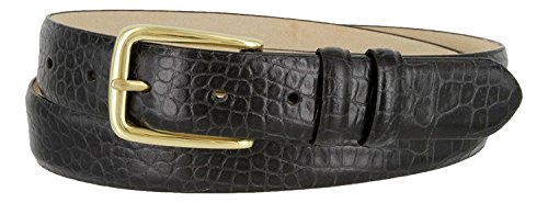 (Andrew Genuine Italian Calfskin Leather Dress Belt for Men(Alligator Black, 38))