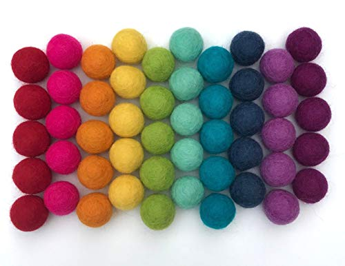 Wildflower by Hu Hands 100% Handmade Wool Felt Pom Poms - Rainbow Party - (50) Pure New Zealand Wool Felt Balls - DIY Pompoms - 0.8-1.0