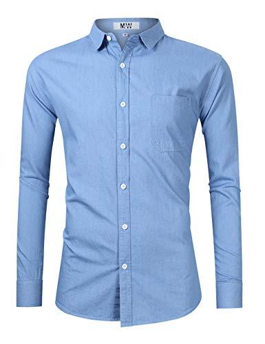 MrWonder Men's Casual Slim Fit Short Sleeve Button Down Dress Shirts Denim Shirt (M, Long Sleeve Sky Blue)