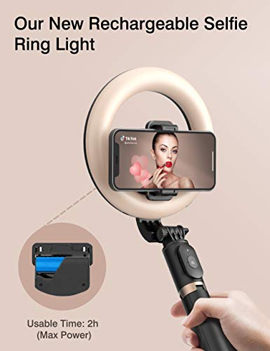 Selfie Ring Light with Tripod Stand and Phone Holder Artoful Selfie Stick with Bluetooth Remote and 3 Color Modes, 9 Adjustable Brightness for Tiktok, Makeup, YouTube and Vlogs