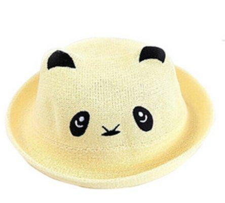 Child Panda Pale Yellow Straw Hat Basin Cap Child Hat Baby Hat Baby - Pale Straw