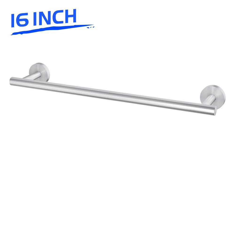 LuckIn 16 Inch Towel Bar Brushed Nickel Hand Towel Rod, Stainless Steel Kitchen Dish Towel Holder, Wall Mounted Bathroom Towel Rack Modern Single Rail Silver Hanger for Shower, TR0016