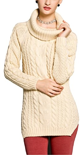 Neck Cable Knit Dress (V28® Women's Cowl Neck Cable Knit Long Sleeve Knitwear Pullover Sweater (Large,)