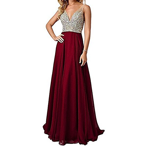 QSYE Women's Beaded Prom Dreeses Long V-Neck Chiffon Evening Gowns 2017 Burgundy,6 (Gown Chiffon Beaded)