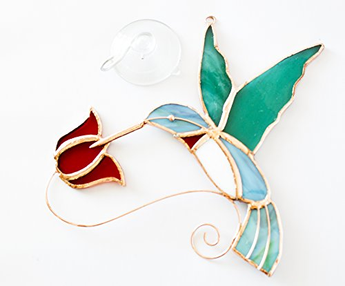 Beautiful Copper & Stained Glass Hummingbird Sun Catcher With Red Flowers - Perfect Gift for Hummer Lovers!