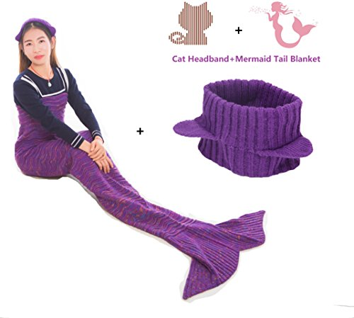 Adult Mermaid Tail Blanket Cat Headband Throw Little Girl Toddle Long Extra Size Fin Fun Fishtail Sleeping Bag Soft Warm Snuggie Weighted Receiving Knitted Cover Living Room Car Camp Toy