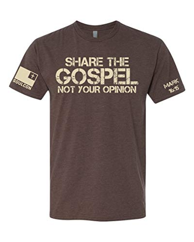 Share The Gospel Shirt - XL - Faith Based Apparel, Men's Faith Based T-Shirts, Men's Gear, Men's Ministry Brown