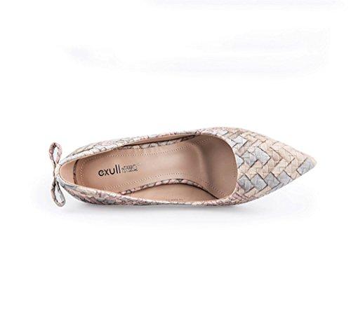 Ladies Autumn Heels Fine Elegant Gray Sandals High Shoes Color 34 Weaving Fine Size HH6xqTO0