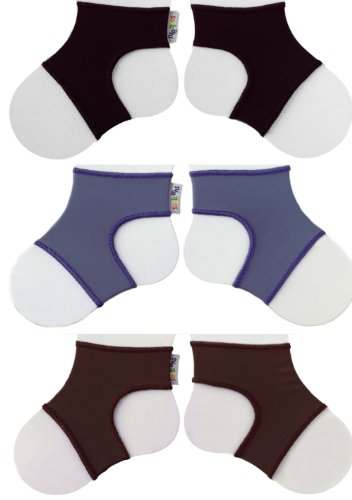 Sock Ons Clever Little Things That Keep Baby Socks On! 3 Pack: Black, Blueberry, Chocolate, Large 6-12 Months