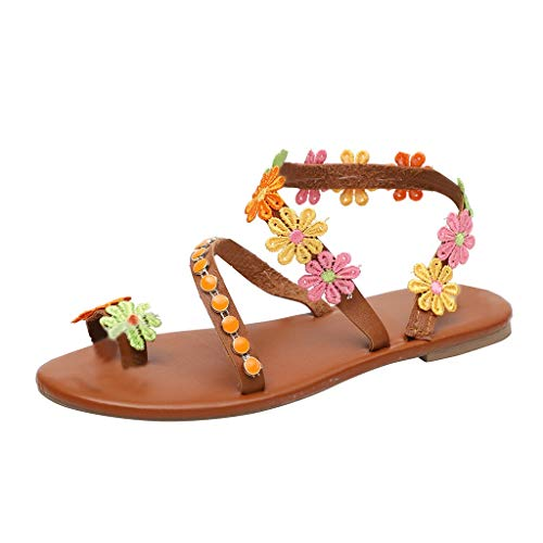 (Respctful✿Women Sandals Cross Strap Bohemia Flat Sandals Fashion Clip Toe Flip Flops Flat Bottom Sandals Shoes Brown)