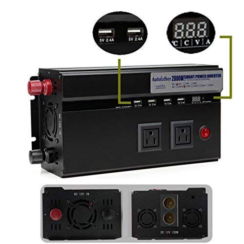 Autobaba Digital Display Car Power Inverter 2000W 12V DC To 110V AC Modified Sine Wave Converter 2 AC Outlets & 4 USB Charging Ports & 2 Cigarette Socket Output