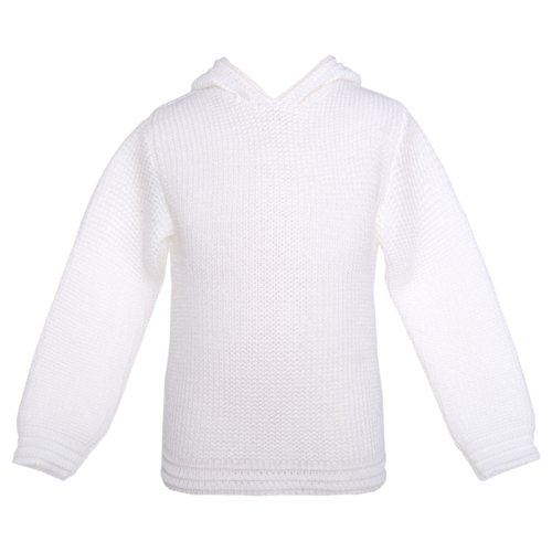 - White Knit Hood Ribbed Cuff Zipper Back Sweater Baby 6M