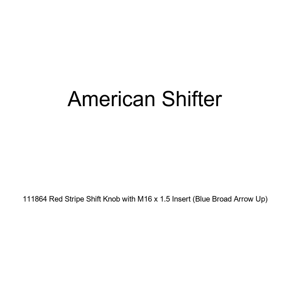 American Shifter 111864 Red Stripe Shift Knob with M16 x 1.5 Insert Blue Broad Arrow Up