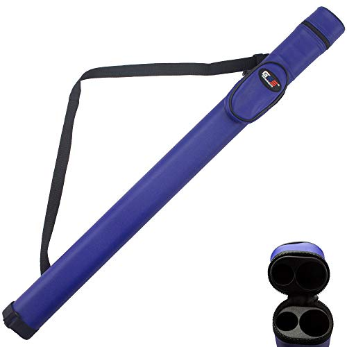 (GSE Games & Sports Expert 1x1 Deluxe Hard Billiard Pool Cue Stick Carrying Case (Several Colors Available) (Blue))