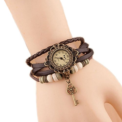 Hosaire Watch Bracelet Vintage Multilayer Weave Wrap Around Leather Chain Bracelet Quartz Wrist Watch with Key Pendant for Women Men Brown