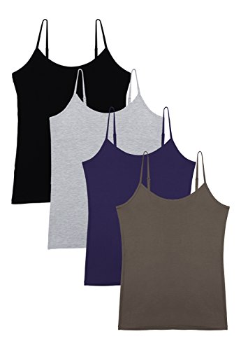 Vislivin Women's Basic Solid Camisole Adjustable Spaghetti Strap Tank Top Black/Gray/Dark Blue/Coffee M Cami Coffee