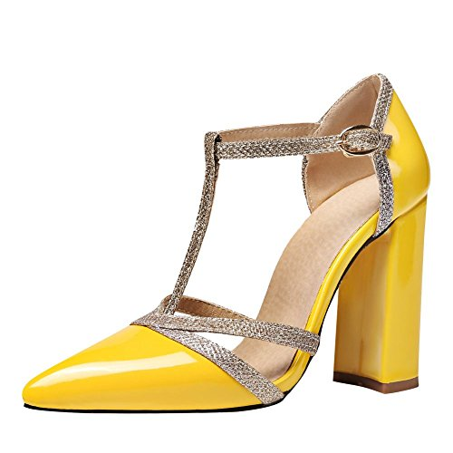 MissSaSa Damen Chunky High Heel t-Steg Leder-Pumps Gelb