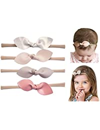 Rabbit Ears Faux Leather Bow–Stretch Headbands for Baby Toddler Girls, Set of 4 (Boutique Set)