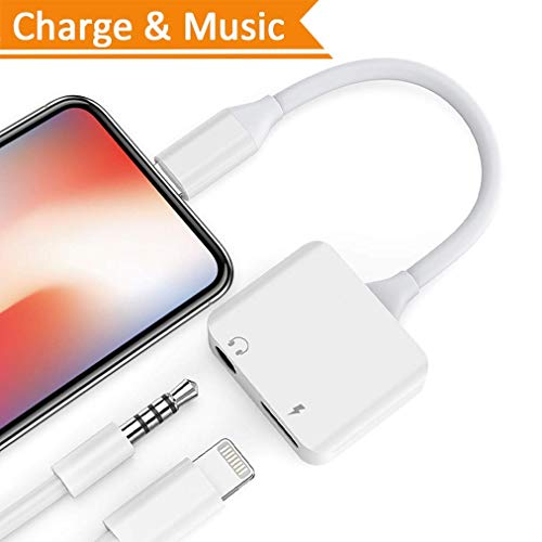 Lightening Jack Headphone Adapter for iPhone Dongle Earphone Audio Adaptor for iPhone X / 8/7 / Plus 2 in 1 Lighting to 3.5 mm Aux Converter & Charger Cables Support iOS 11 by Lotuyye
