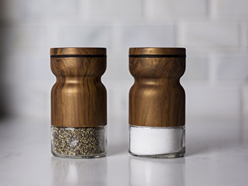 (Salt and Pepper Shaker Set – with adjustable pour holes dispenser lids. Cute & elegant modern shakers, Stainless Steel metal with Glass bottoms. Easy fill & closable. (Walnut - Set of 2))