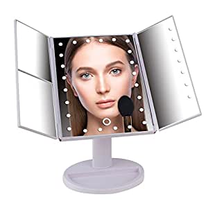 Makeup Vanity Mirror with 24 LED Lights (Touchscreen), Magnification (2X, 3X, 10X), Includes USB Power Cord (Batteries Optional) - Portable Bathroom Countertop Cosmetic Trifold Mirror