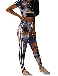 SYTX Womens Workout Sports 2Pcs Outfits Color Block Hooded Crop Top Leggings Pants