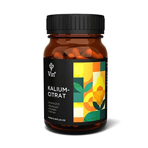 Vinplus Kaliumcitrat Kapseln - Hochdosiert mit 250 mg - Unterstützt Blutdruck, Muskeln, Nerven - 120 Kapseln in Pharmaqualität - Reines Kalium-Präparat - Potassium Citrate