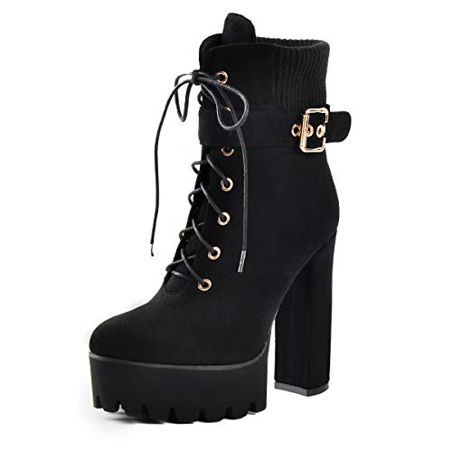 - onlymaker Suede Chunky Heel Lace Up Ankle Boots with Platform for Woman Black Size US 10