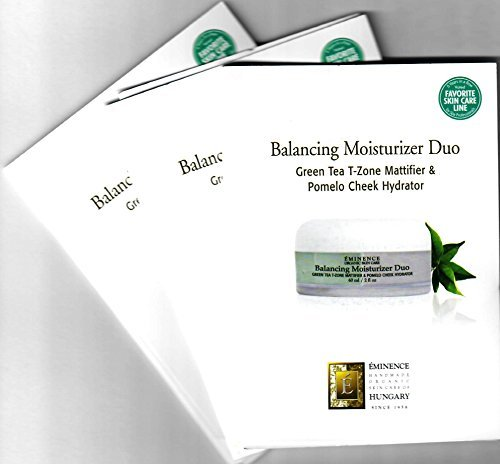 Balancing Moisturizer Duo Card Sample Set of 3 Travel Size (3x2ml Green Tea T-Zone Mattifier & 3x2ml Pomelo Cheek Hydrator) by ?minence Organic Skin Care of Hungary