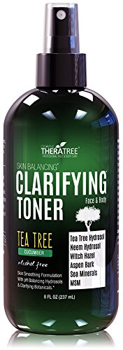 Clarifying Toner with MSM, Tea Tree & Neem Hydrosol, Complexion Control for Face & Body - Helps Reduce Appearance of Pore Size, Controls Oil to Tone, Balance & Hydrate Skin - 8 oz