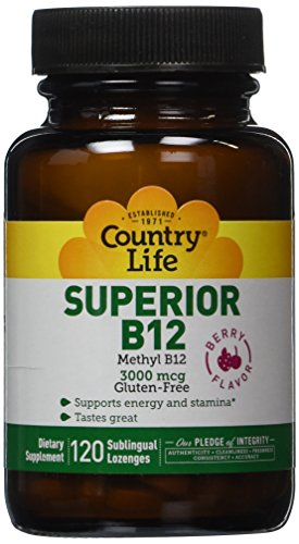 Country Life Superior B-12, 3000 mcg,  Dissolvable Berry Flavored Lozenges,