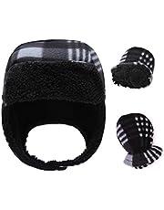 RAOEXI Baby Boy Winter Hat Mitten Set Warm Beanie Caps for Toddler Girls Infant Earflap Pilot Hats Lined Sherpa Fleece