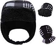 RAOEXI Baby Boy Winter Hat Mitten Set Warm Beanie Caps for Toddler Girls Infant Earflap Pilot Hats Lined Sherp